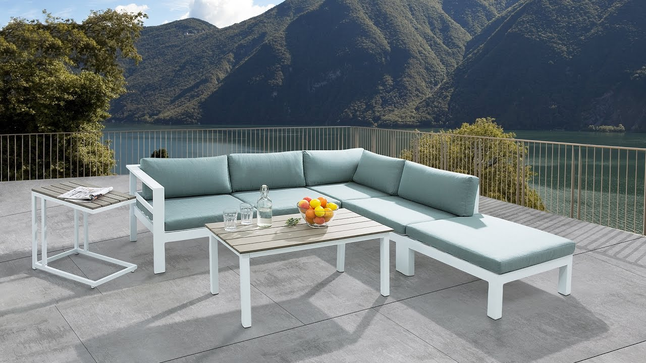 sectional outdoor sofa set 5 piece patio conversation set with rh beliani co uk