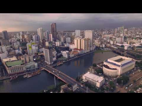 Aerial video of Old Manila/Binondo