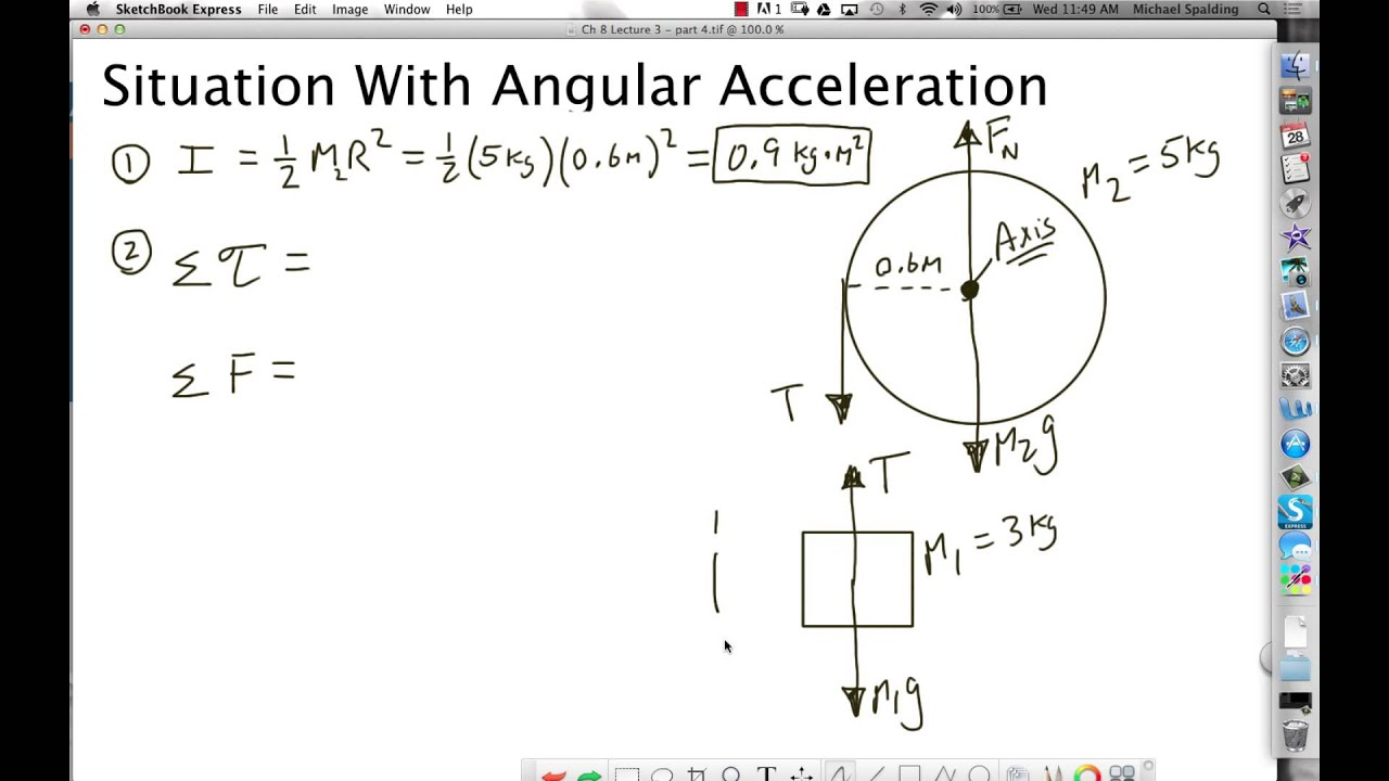 An experiment on angular acceleration and tension