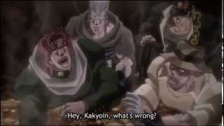 Kakyoin,Polnareff and Jotaro laughing.