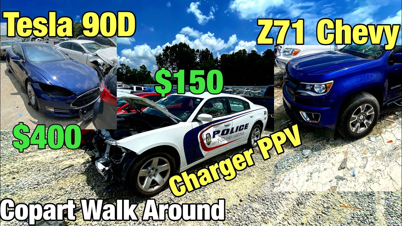 Tesla P90D, Charger PPV, Z71 Chevy, C7, Copart Walk Around
