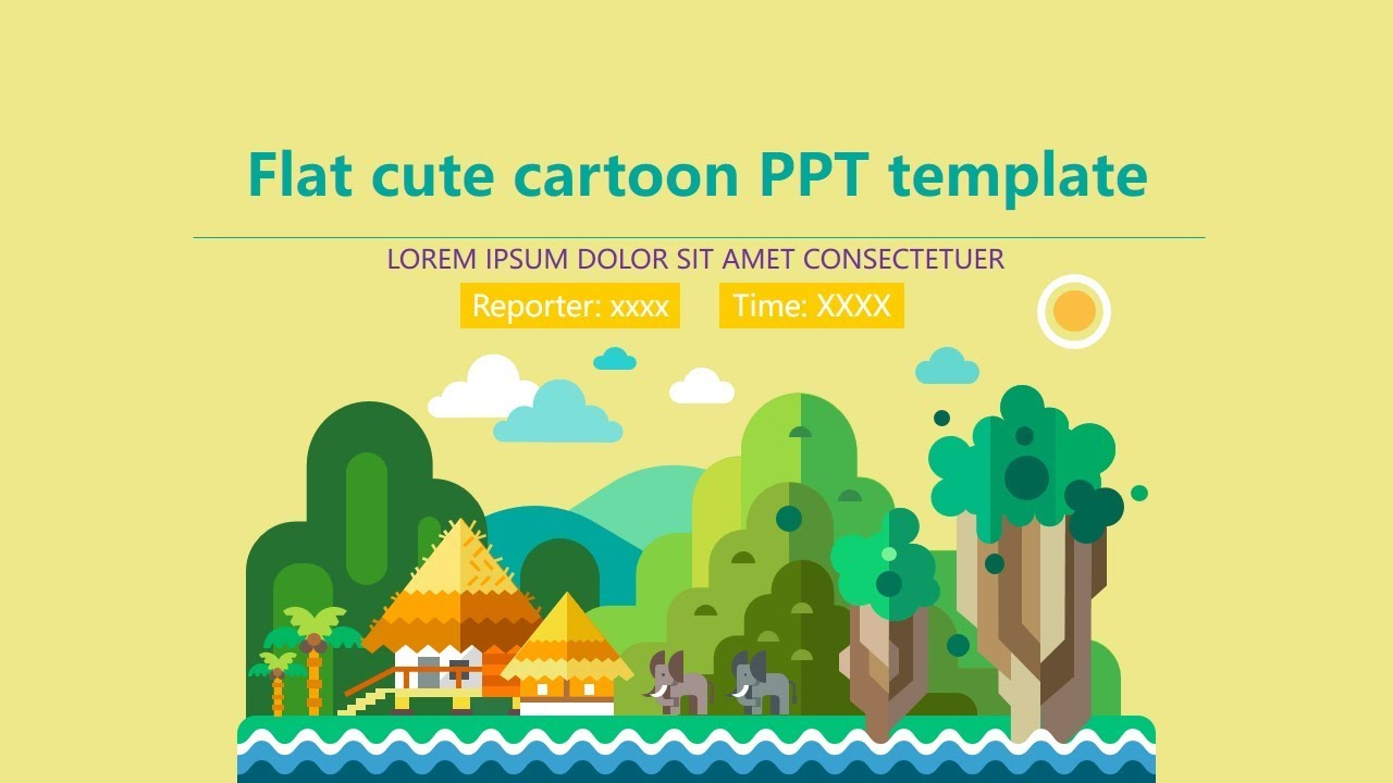 flat cute cartoon template powerpoint free download youtube
