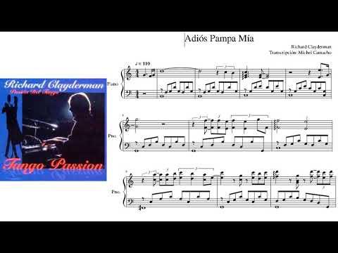 3 Partituras Tango - A Media Luz, Adiós Pampa mía y Mano a Mano de Richard Clayderman