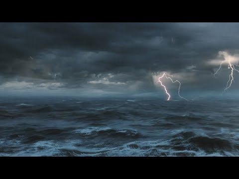 Thunderstorm At Sea Sounds For Sleeping, Relaxing ~ Thunder Rain Ocean Sea Lightning Ambience