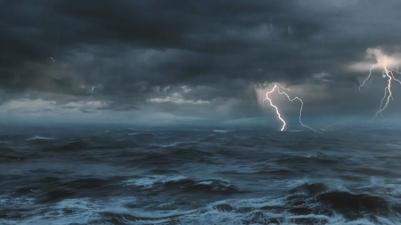 Thunderstorm At Sea Sounds For Sleeping Relaxing Thunder Rain Ocean Lightning Ambience