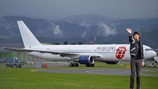 MICK JAGGER WAVING The Rolling Stones Boeing 767 takeoff at Zeltweg Air Base
