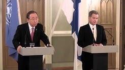 YK:n pääsihteeri Ban Ki-moonin ja presidentti Sauli Niinistön lehdistötilaisuus 9. joulukuuta 2015