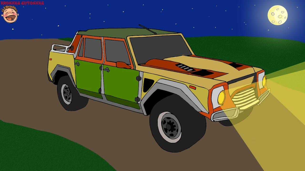 Coches para niños. Coloreando con la música. Pintemos el SUV ...