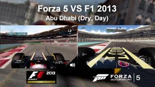 Forza 5 VS F1 2013 Comparions - Lotus E21@Abu Dhabi (Dry, Day)