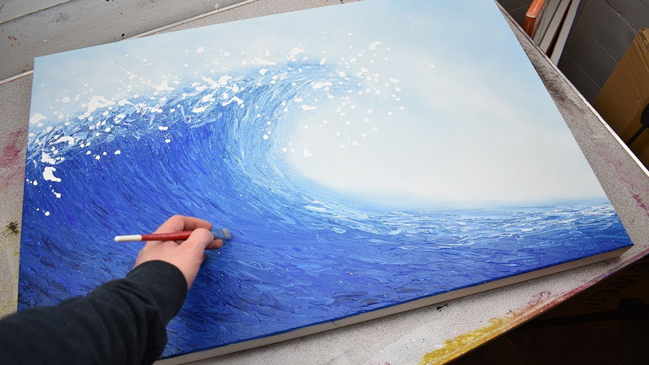 Abstract Wave Painting Acrylic Painting Time Lapse Demonstration