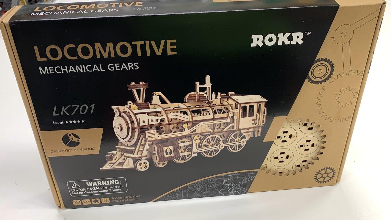 AMAZING 3D TRAIN WOODEN PUZZLE - Rokr Steam Locomotive LK701 - UNBOXING