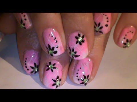 Tiny black flowers on short pink nailsdeo nail art tutorial tiny black flowers on short pink nailsdeo nail art tutorial prinsesfo Images