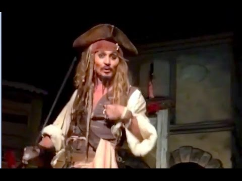 Thumbnail: Johnny Depp surprises Disneyland guests as Jack Sparrow in Pirates of the Caribbean ride