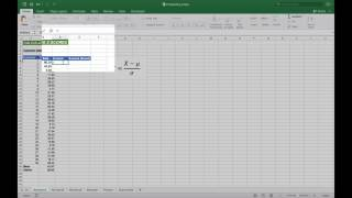 Calculating a Z-score in Excel