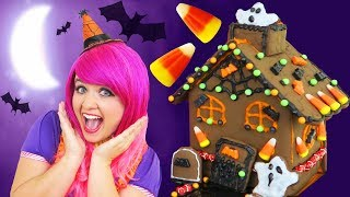 Let's Make A Halloween Cookie House! | DIY Halloween Chocolate Cookie House Kit | KiMMi THE CLOWN