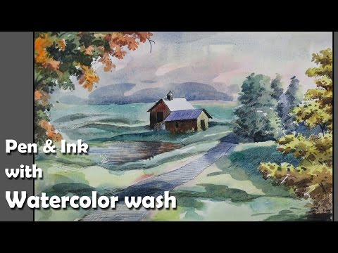 How to draw a scenery with Ink & paint with Watercolor