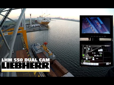 Operating a Liebherr Mobile Harbour Crane DUAL CAM LHM 550 Discharging barges Port of Antwerp GoPro