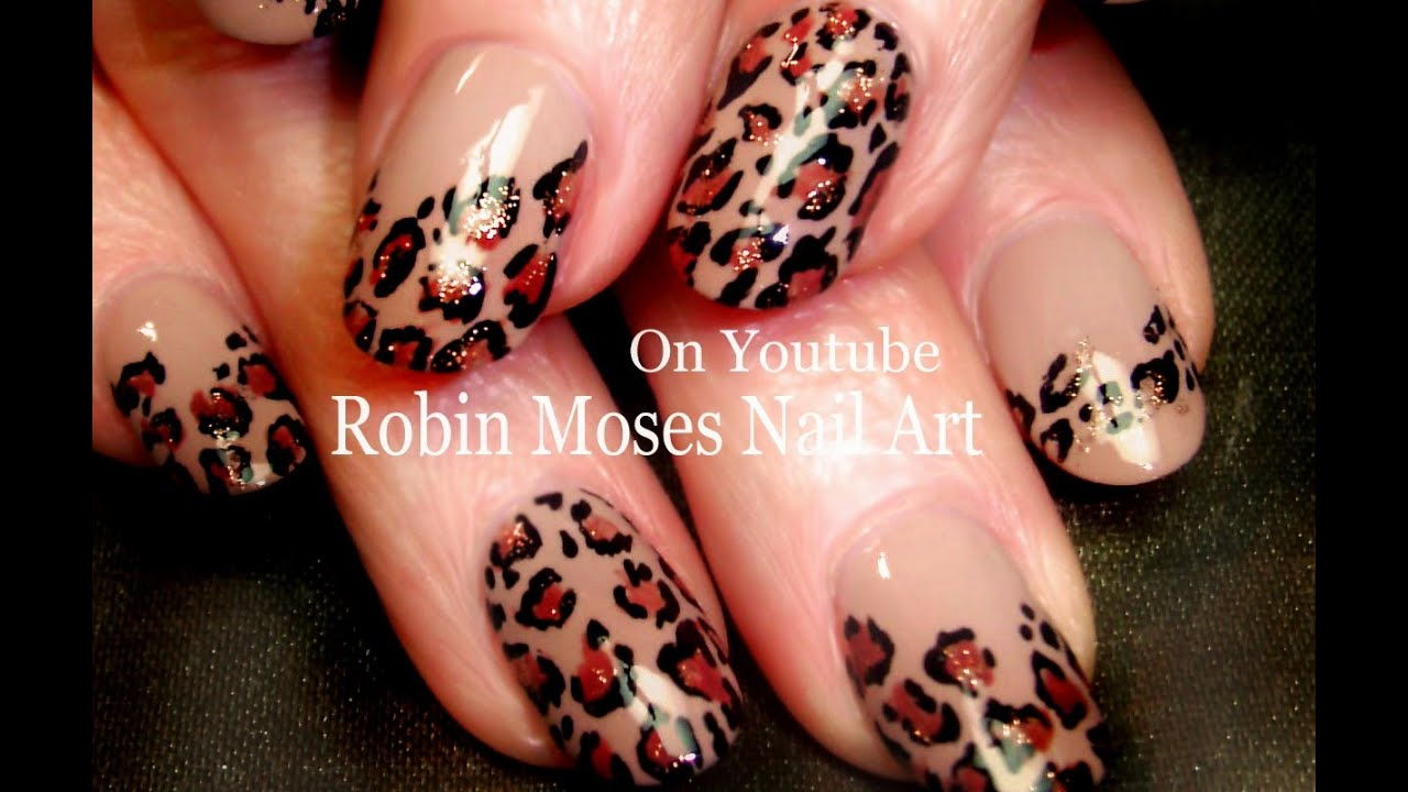 Easy Leopard Print Nails | Tan and black Traditional Nail Art Design ...