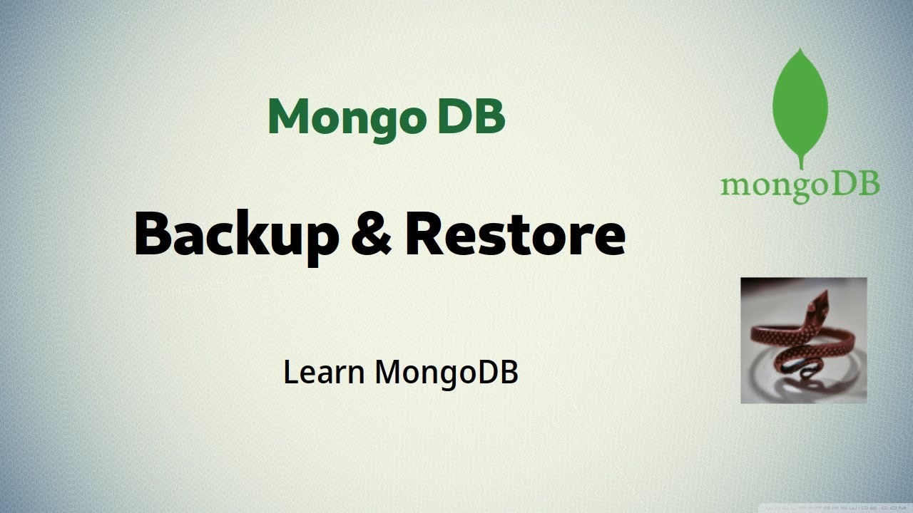 [ MongoDB 5 ] Backup & Restore MongoDB database