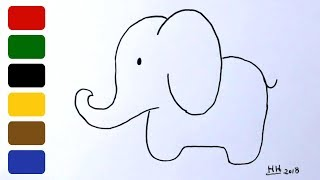 elephant draw easy simple drawing drawings very paintingvalley