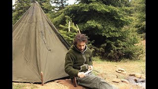Solo 3 Days Bushcraft on a mountain lake, Canvas Lavvu tent, carving tongs and grill, cooking...