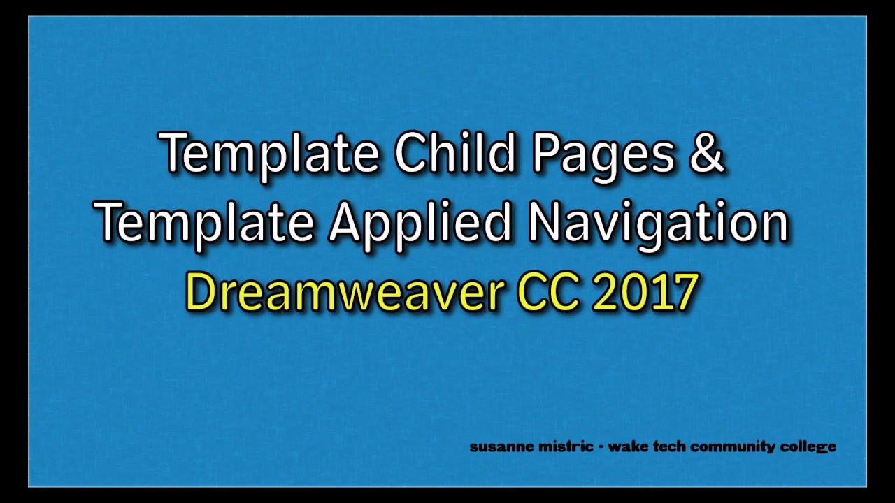 Dreamweaver cc 2017 template child pages template for Templates for dreamweaver cc