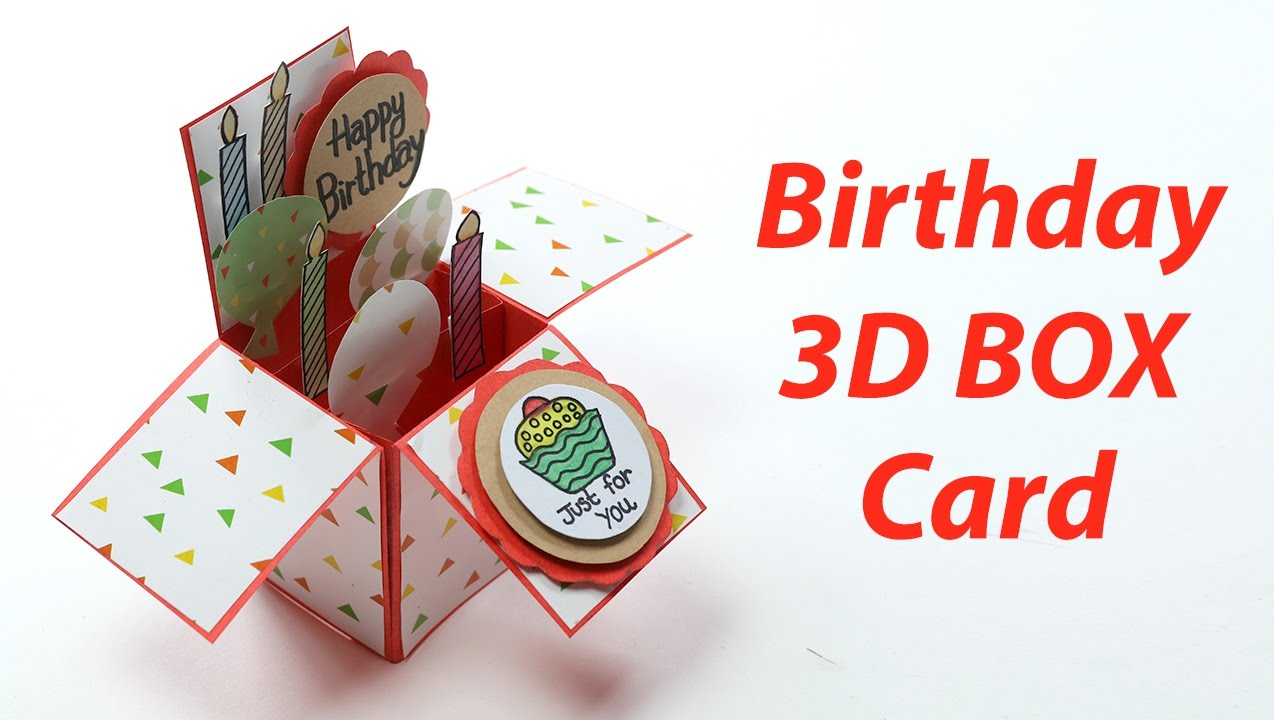 3D Birthday Card - Handmade, Unique Pop Up Box B\'day Card Making ...