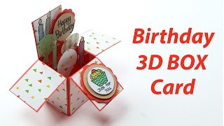 3D Birthday Card - Handmade, Unique Pop Up Box B