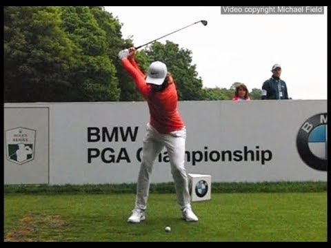 Tommy Fleetwood golf swing Short-Iron & Mid-Iron (face-on) BMW PGA Championship, May 2018.