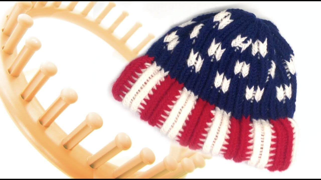 e55879b9f65 American Flag Beanie Hat Round Loom Pattern - YouTube