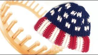 American Flag Beanie Hat Round Loom Pattern