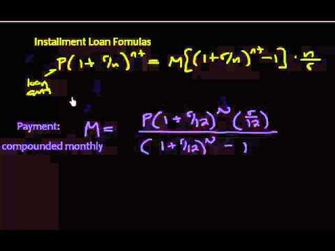 Amortization - Different Installment Loan Formulas - YouTube