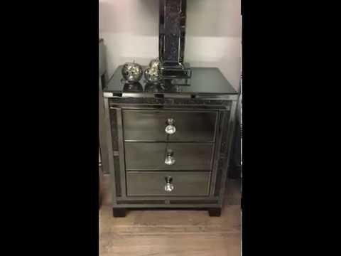 Diamond Glitz Noir Smoked Black Mirrored 3 Drawer Bedside Cabinet