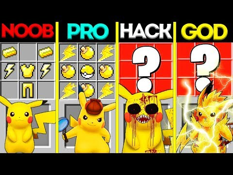 Minecraft Battle: NOOB vs PRO vs HACKER vs GOD: POKEMON PIKACHU CRAFTING CHALLENGE / Animation
