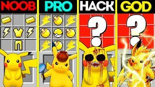 Minecraft Battle: NOOB vs PRO vs HACKER vs GOD: POKEMON PIKACHU CRAFTING CHALLENGE / Animation