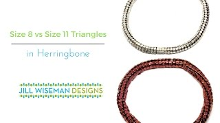 Size 8 Triangle Beads vs Size 11 Triangle Beads