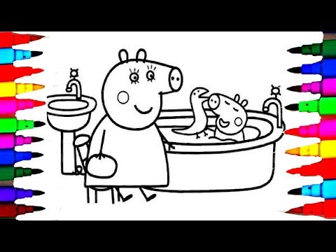 Coloring Page Peppa Pig George Pig in the Bathroom Bathtub Coloring Book Pages