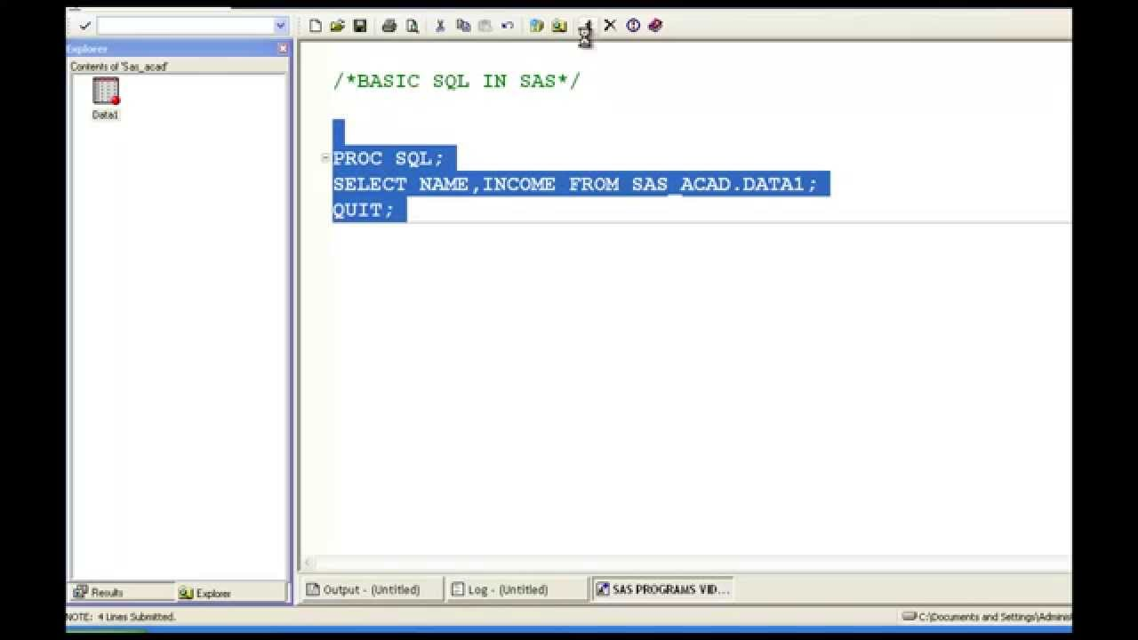 SQL in SAS ( Basic Proc SQL )