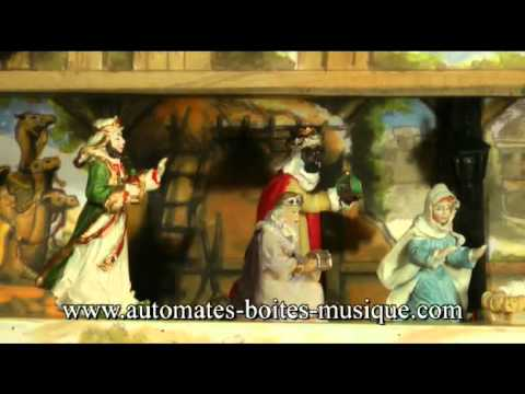 Musical advent calendar with automatons and nativity scene