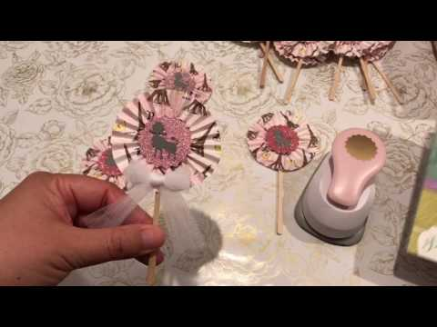 Meet Me In Paris Themed Project Share:  Goody Bags And Mini Cupcake Liner Rosettes Wands