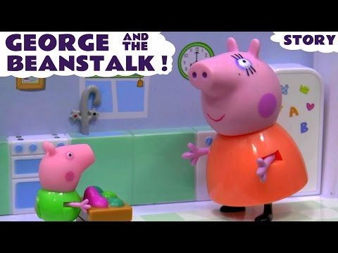 Peppa Pig English Episode with Minions | Thomas and Friends | George & the Beanstalk Toy Juguetes: Once Upon A Time Fairy Tale with George Pig, Peppa Pig brother, and Mummy Pig. George gets some magic beans which bring the Minions. Visit the ToyTrains4u website http://www.toytrains4u.co.uk/ Subscribe to ToyTrains4u free here http://www.youtube.com/subscription_center?add_user=ianrphillips  This is the Peppa Pig George and the Beanstalk Once Upon A Time set unboxed and used in our own Peppa Pig Episode. Instead of selling their cow for 5 gold coins, George accepts magic beans. One of the beans grows and George finds the Minions at the top of it. Do they help? You'll have to watch.  Here at ToyTrains4u we make story, educational and review videos of all our favourite toys. So if you like to see the toys you actually play with featured in stories then Toy Trains 4u is the channel for you. We also have a lot of toy surprises by way of toys in surprise eggs or toys concealed in Play Doh.  To see our most recent toy, story and surprise videos click on this link https://www.youtube.com/playlist?list=PLQxJjIxc-E2E0t_N391u8K7AGOSAiH2M3  Google Plus - http://google.com/+Toytrains4uCoUk Facebook -  http://on.fb.me/13eHUek Twitter - https://twitter.com/toytrains4u  Subscribe at - http://www.youtube.com/subscription_center?add_user=ianrphillips  Royalty Free Music by http://audiomicro.com/royalty-free-music and Epidemic Sound Sound Effects by http://audiomicro/sound-effects Music Is Called The fairytale, Dance Party-80, Lovely Surprise and Barnyard