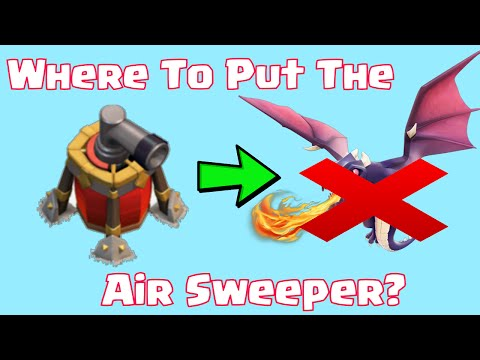 Clash Of Clans Where To Put Air Sweeper New Defense Best Place | Mass Dragons VS Air Sweeper