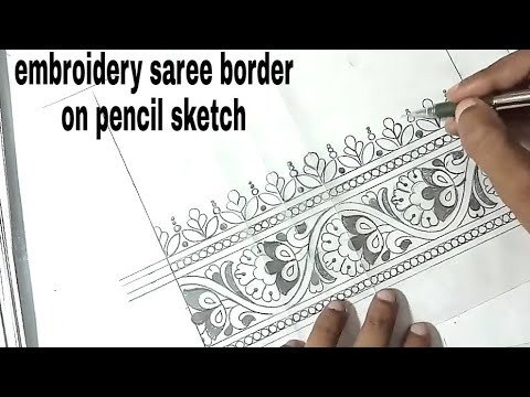 How to draw saree border design pencil sketch