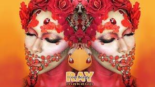 Red Flowers Makeup Tutorial / Halloween