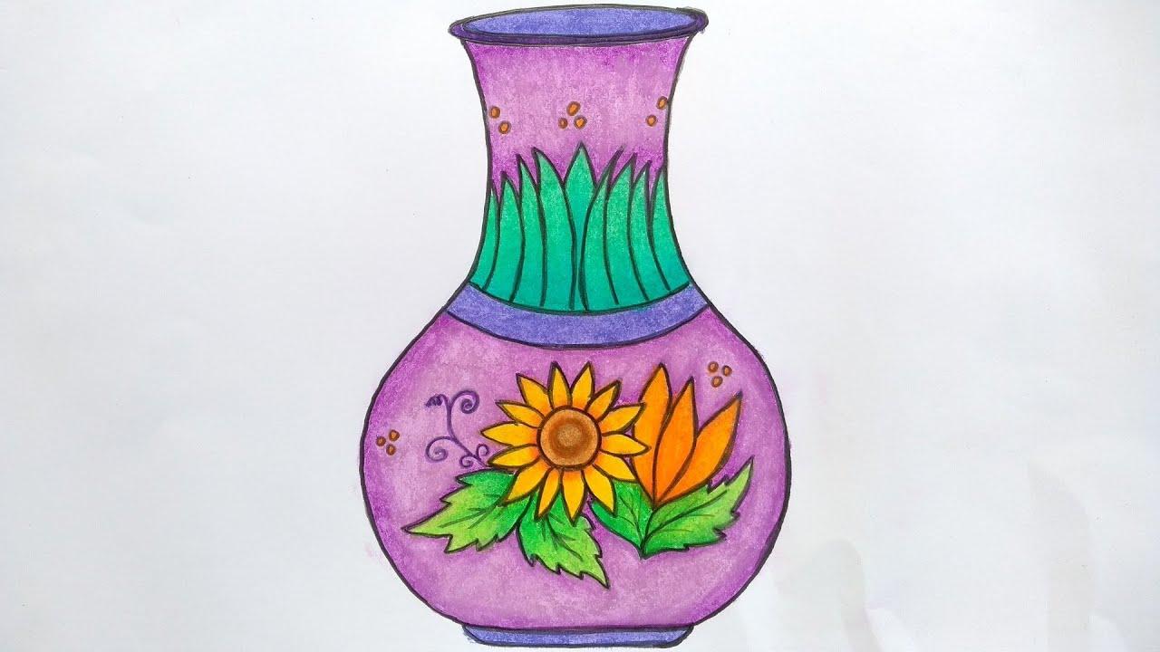 Menggambar Vas Bunga Menggambar Guci Belajar Menggambar Dan Mewarnai Untuk Pemula Youtube