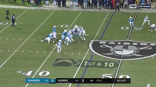 Raiders score touchdown on a pick 6 Chargers Vs Raiders