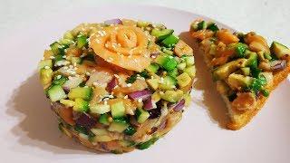 Полезный и вкусный салат из авокадо и лосося ПП рецепт