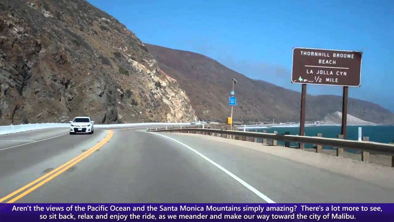 Pacific Coast Highway Pch Driving Into Malibu Along Southbound California State Route 1 You