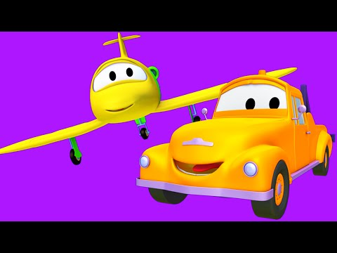 Tom The Tow Truck with his friends the Plane, the Steamroller and the Train in Car City | Cartoon