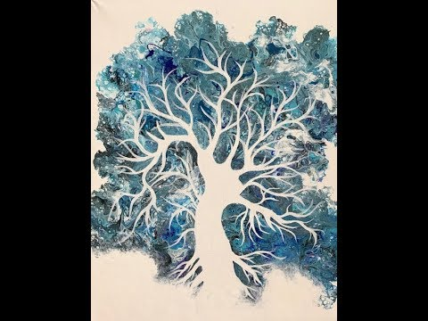 79 Flip Cup Tree of Life Fluid Painting